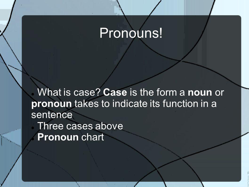 Pronouns. What is case.