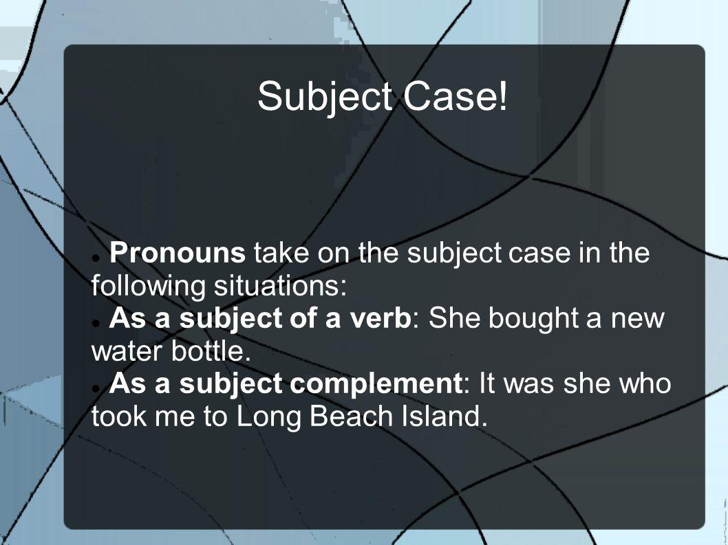 Subject Case.