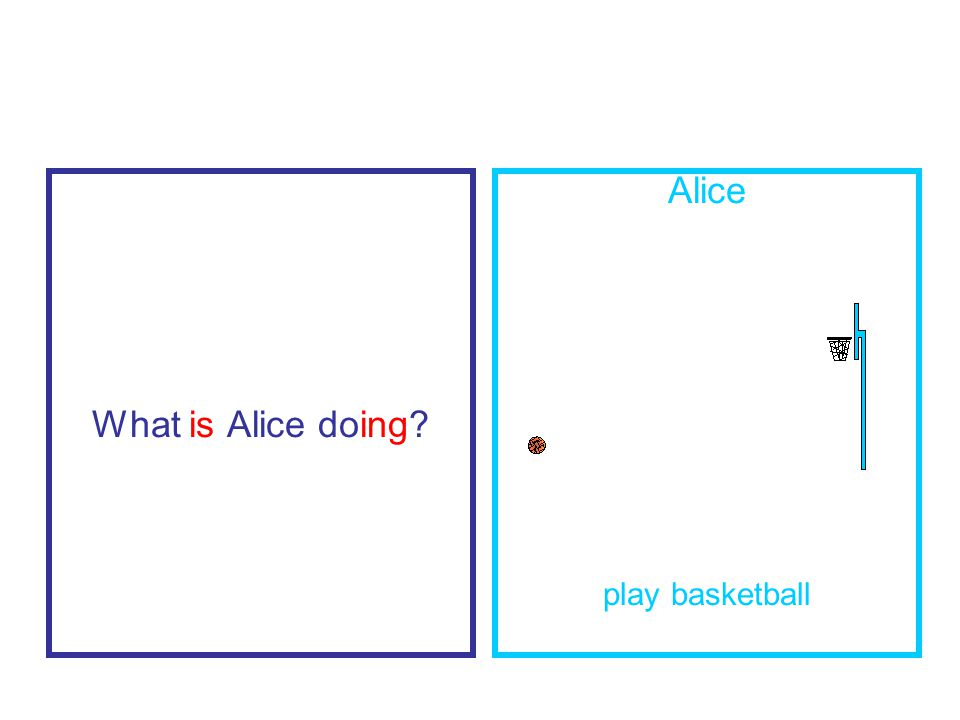 What is Alice doing Alice play basketball
