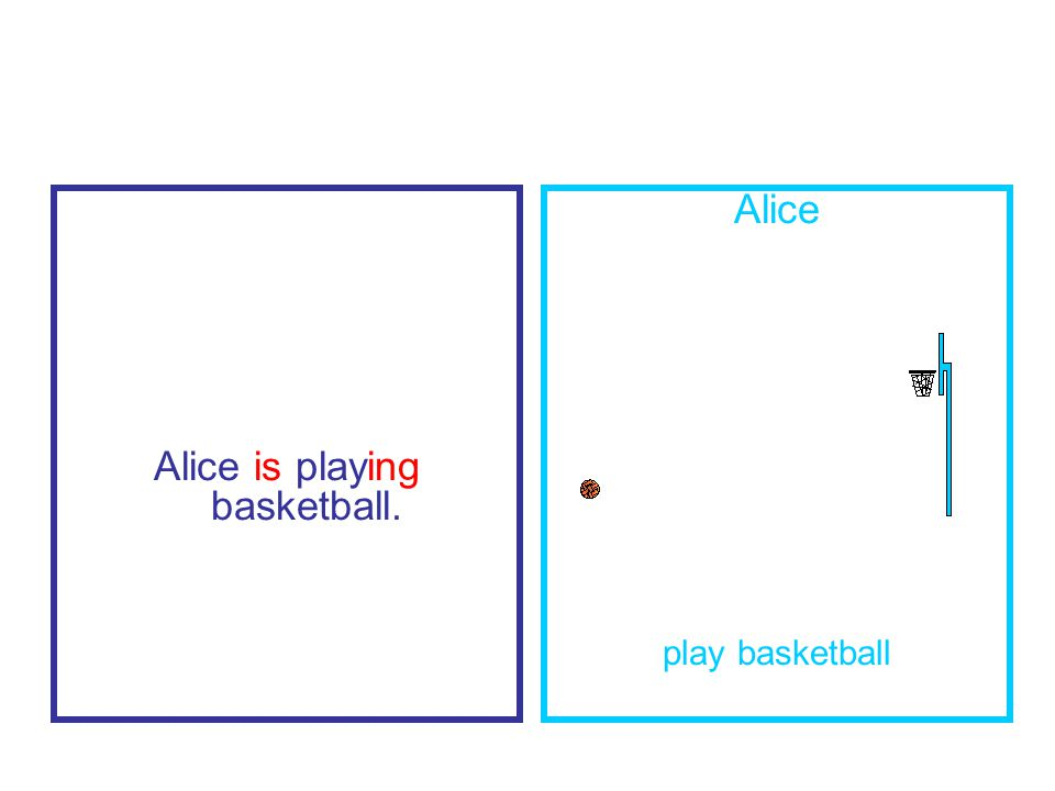 Alice is playing basketball. Alice play basketball