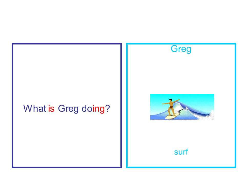 What is Greg doing Greg surf