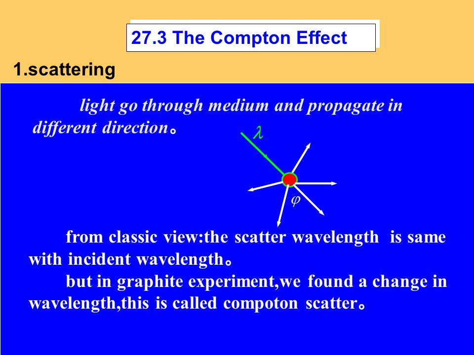 27.3 The Compton Effect light go through medium and propagate in different direction 。 from classic view:the scatter wavelength is same with incident wavelength 。 but in graphite experiment,we found a change in wavelength,this is called compoton scatter 。 1.scattering 