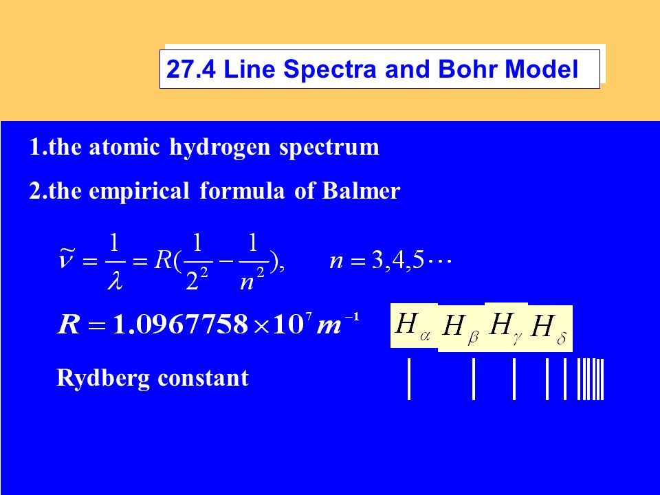 1.the atomic hydrogen spectrum Rydberg constant 2.the empirical formula of Balmer 27.4 Line Spectra and Bohr Model