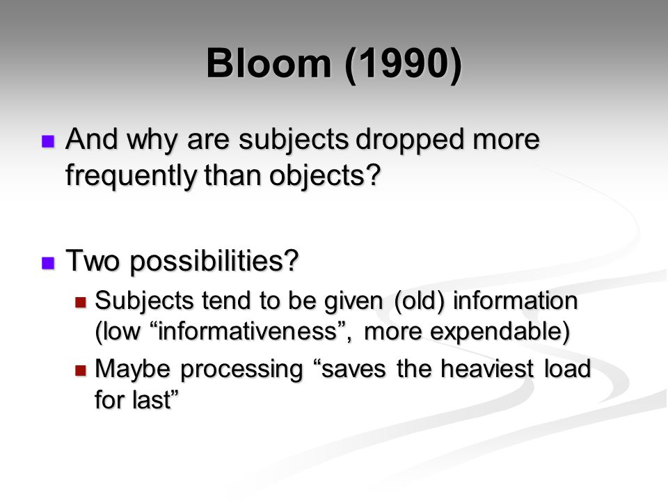 Bloom (1990) And why are subjects dropped more frequently than objects.