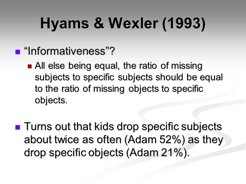 Hyams & Wexler (1993) Informativeness . Informativeness .