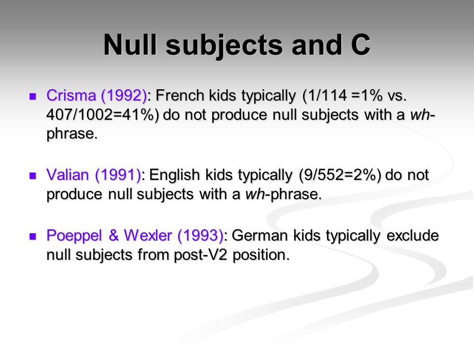 Null subjects and C Crisma (1992): French kids typically (1/114 =1% vs.