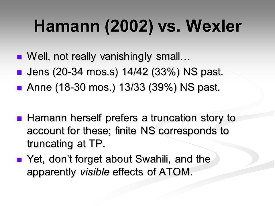 Hamann (2002) vs. Wexler Well, not really vanishingly small… Well, not really vanishingly small… Jens (20-34 mos.s) 14/42 (33%) NS past. Jens (20-34 m