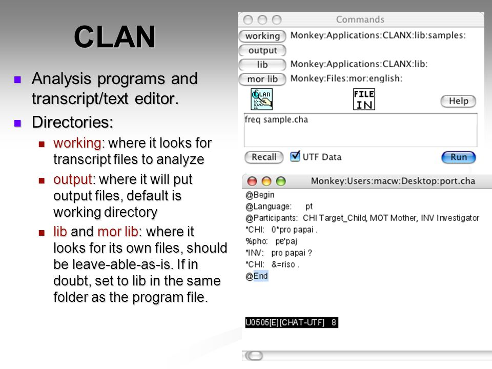 CLAN Analysis programs and transcript/text editor.