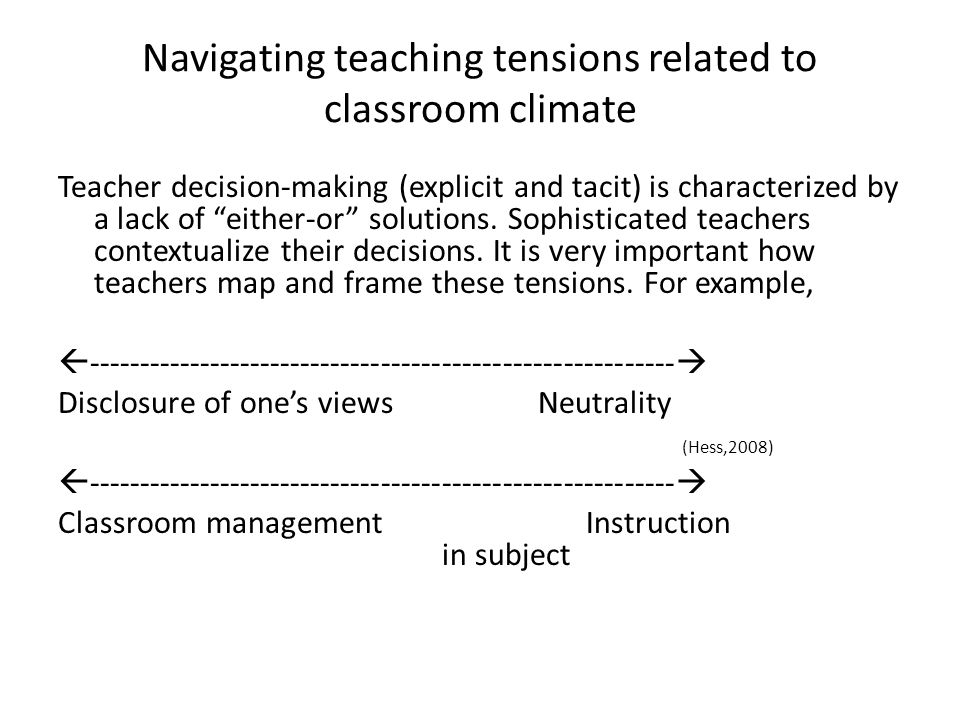 "Navigating teaching tensions related to classroom climate Teacher decision-making (explicit and tacit) is characterized by a lack of ""either-or"" solut"