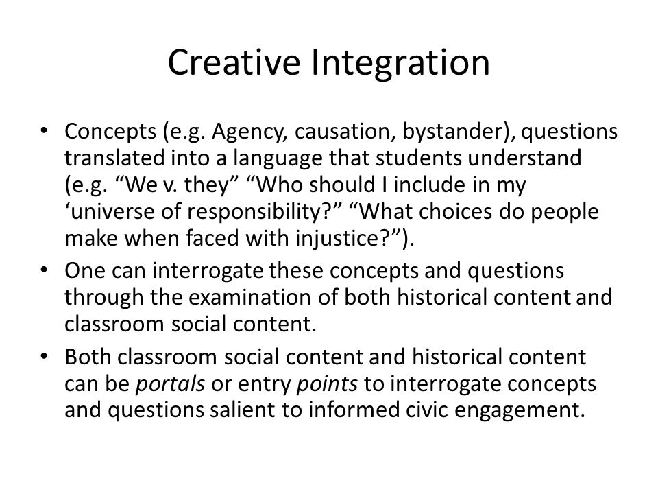 The Facing History Scope and Sequence Example From a teaching for understanding perspective Facing History helps teachers with: Generative concepts and questions (what are my goals.