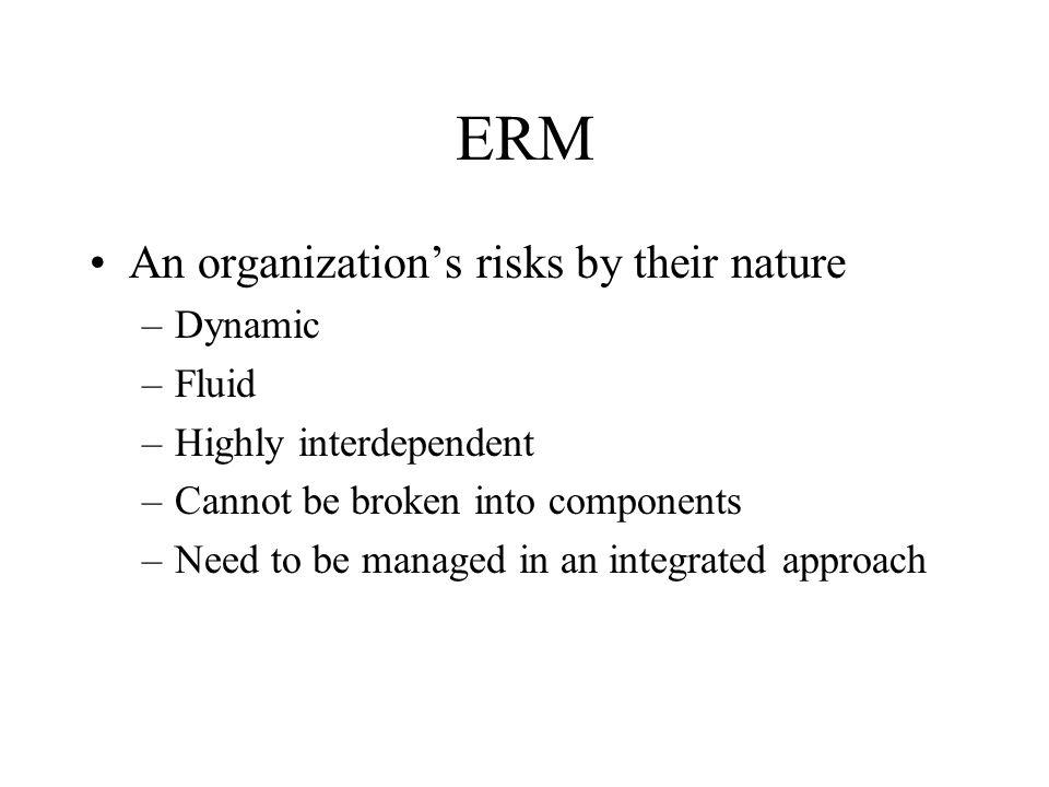 ERM Line Management-Best Practices ERM program should integrate risk management processes into business management processes –Business strategy and planning –New product and business development –Product pricing –Business performance measurement