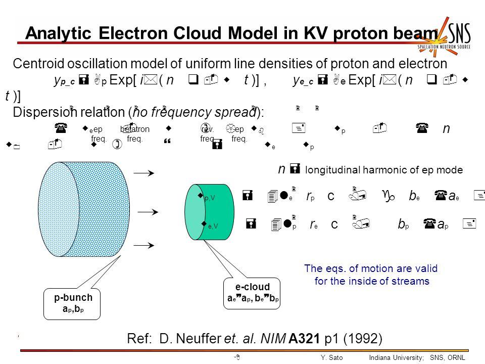 9Y.SatoIndiana University; SNS, ORNL Analytic Electron Cloud Model in KV proton beam, cont.