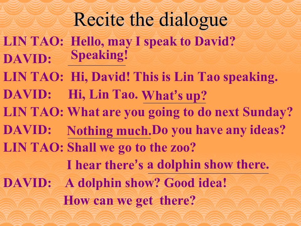 1. What does Lin Tao want David to do next Sunday.