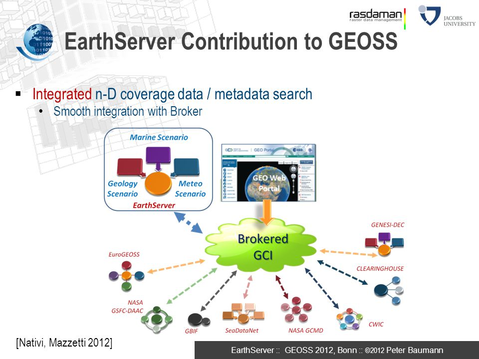 EarthServer :: GEOSS 2012, Bonn :: ©2012 Peter Baumann EarthServer Contribution to GEOSS  Integrated n-D coverage data / metadata search Smooth integ