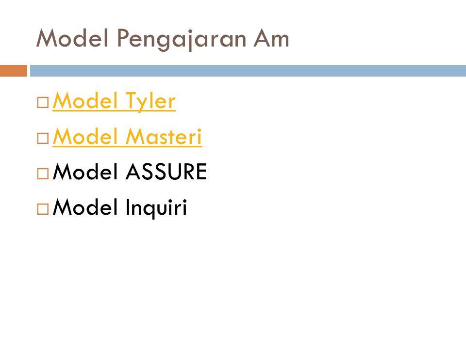 Model Pengajaran Am  Model Tyler Model Tyler  Model Masteri Model Masteri  Model ASSURE  Model Inquiri