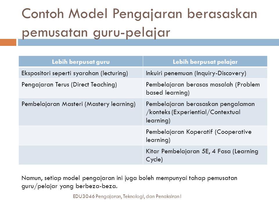 Contoh Model Pengajaran berasaskan pemusatan guru-pelajar EDU3046 Pengajaran, Teknologi, dan Penaksiran I Lebih berpusat guruLebih berpusat pelajar Ekspositori seperti syarahan (lecturing)Inkuiri penemuan (Inquiry-Discovery) Pengajaran Terus (Direct Teaching)Pembelajaran berasas masalah (Problem based learning) Pembelajaran Masteri (Mastery learning)Pembelajaran berasaskan pengalaman /konteks (Experiential/Contextual learning) Pembelajaran Koperatif (Cooperative learning) Kitar Pembelajaran 5E, 4 Fasa (Learning Cycle) Namun, setiap model pengajaran ini juga boleh mempunyai tahap pemusatan guru/pelajar yang berbeza-beza.