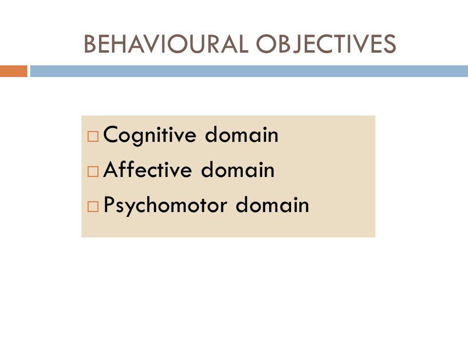  Cognitive domain  Affective domain  Psychomotor domain BEHAVIOURAL OBJECTIVES