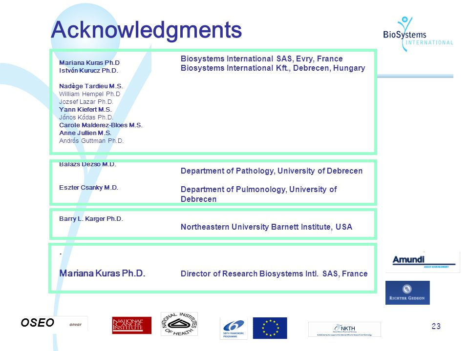 23 Acknowledgments Mariana Kuras Ph.D Istv á n Kurucz Ph.D.