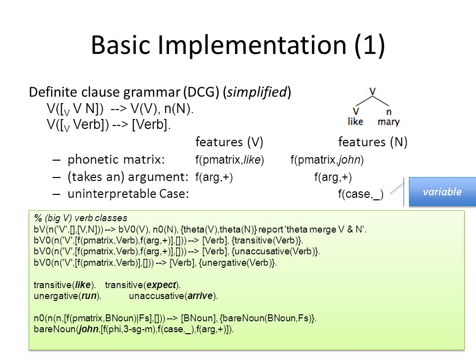 Basic Implementation (1) Definite clause grammar (DCG) (simplified) V([ V V N]) --> V(V), n(N). V([ V Verb]) --> [Verb]. features (V)features (N) – ph