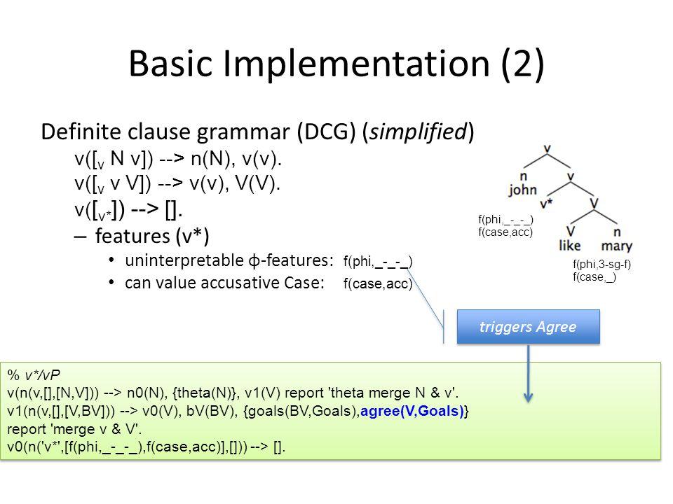 Basic Implementation (2) Definite clause grammar (DCG) (simplified) v([ v N v]) --> n(N), v(v). v([ v v V]) --> v(v), V(V). v( [ v* ]) --> []. – featu