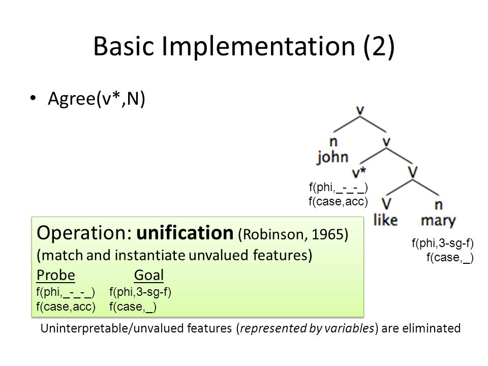 Basic Implementation (2) f(phi,_-_-_) f(case,acc) f(phi,3-sg-f) f(case,_) Agree(v*,N) Operation: unification (Robinson, 1965) (match and instantiate unvalued features) ProbeGoal f(phi,_-_-_) f(phi,3-sg-f) f(case,acc)f(case,_) Operation: unification (Robinson, 1965) (match and instantiate unvalued features) ProbeGoal f(phi,_-_-_) f(phi,3-sg-f) f(case,acc)f(case,_) Uninterpretable/unvalued features (represented by variables) are eliminated