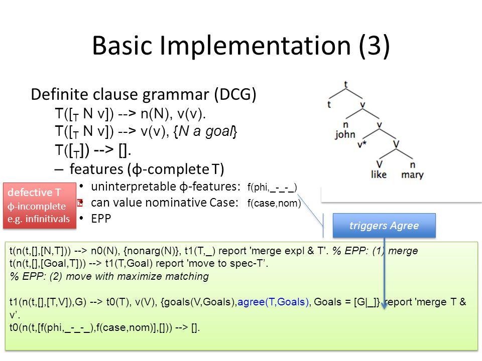 Basic Implementation (3) Definite clause grammar (DCG) T([ T N v]) --> n(N), v(v). T([ T N v]) --> v(v), {N a goal} T( [ T ]) --> []. – features (φ-co