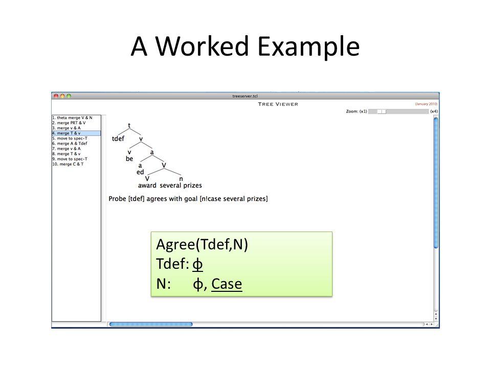 A Worked Example Agree(Tdef,N) Tdef: φ N: φ, Case Agree(Tdef,N) Tdef: φ N: φ, Case