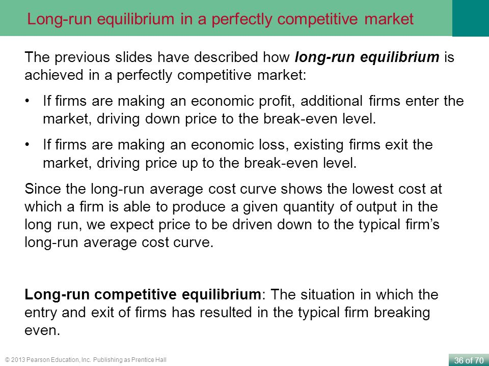 36 of 70 © 2013 Pearson Education, Inc. Publishing as Prentice Hall Long-run equilibrium in a perfectly competitive market The previous slides have de