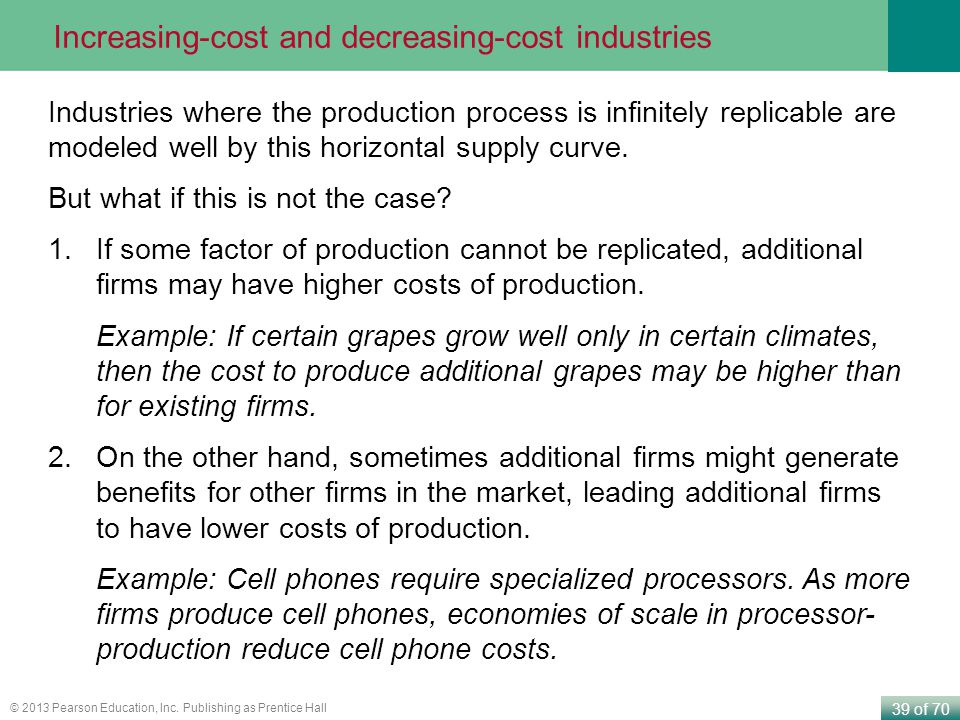 39 of 70 © 2013 Pearson Education, Inc. Publishing as Prentice Hall Increasing-cost and decreasing-cost industries Industries where the production pro