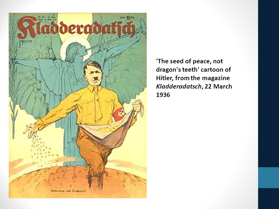 'The seed of peace, not dragon's teeth' cartoon of Hitler, from the magazine Kladderadatsch, 22 March 1936
