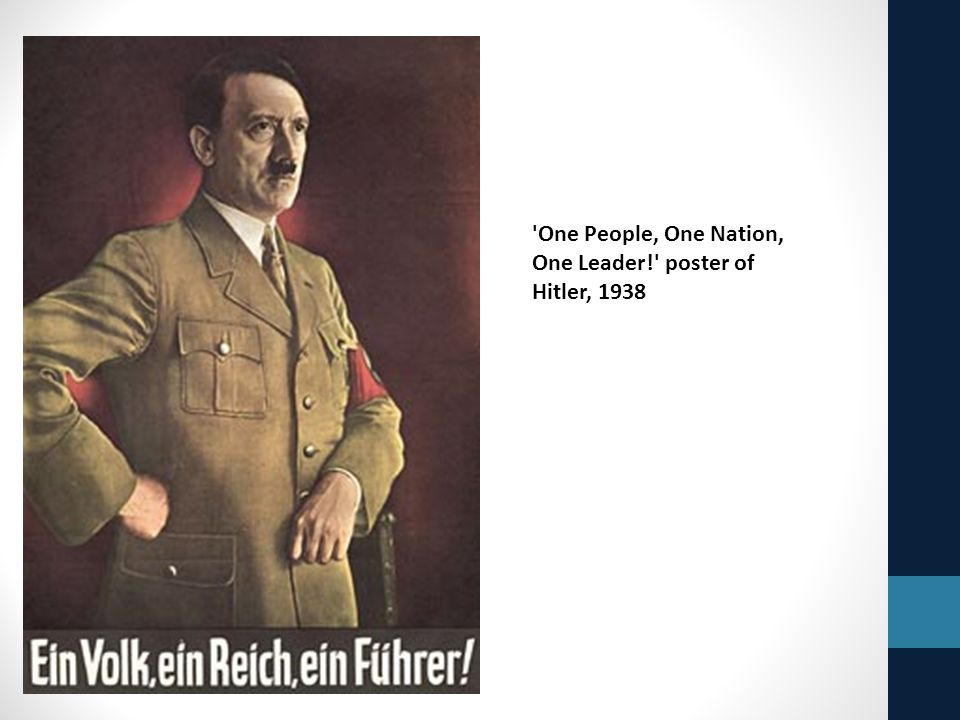 'One People, One Nation, One Leader!' poster of Hitler, 1938