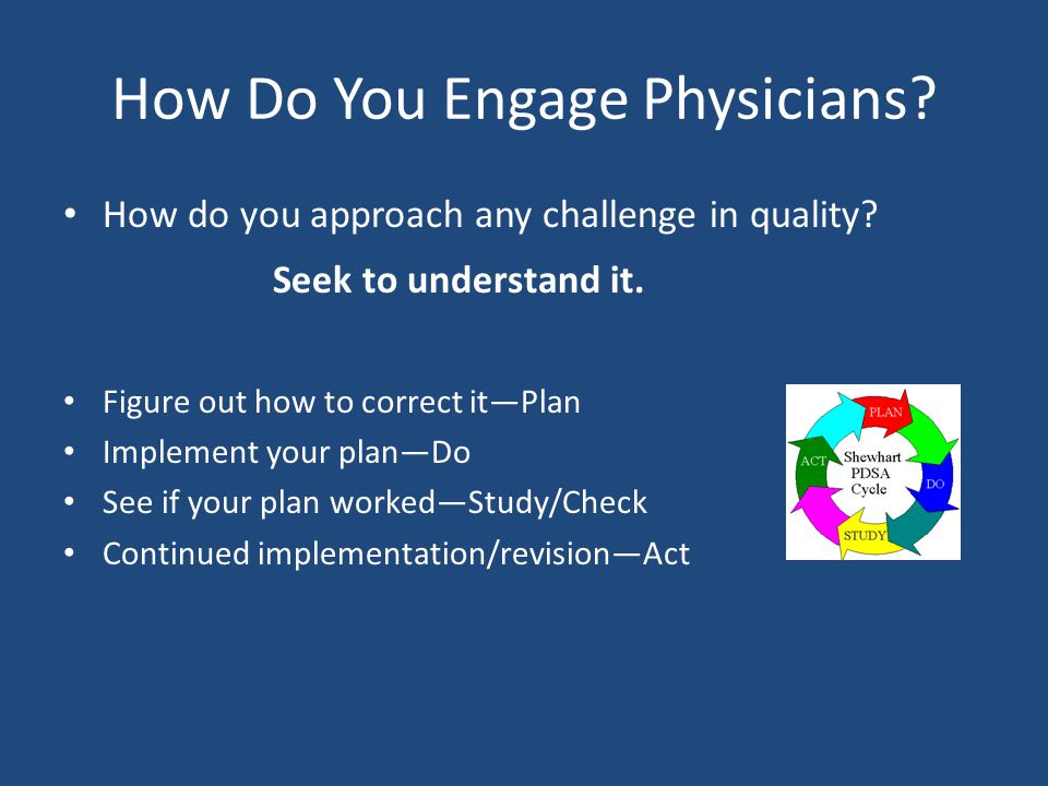 How Do You Engage Physicians. How do you approach any challenge in quality.