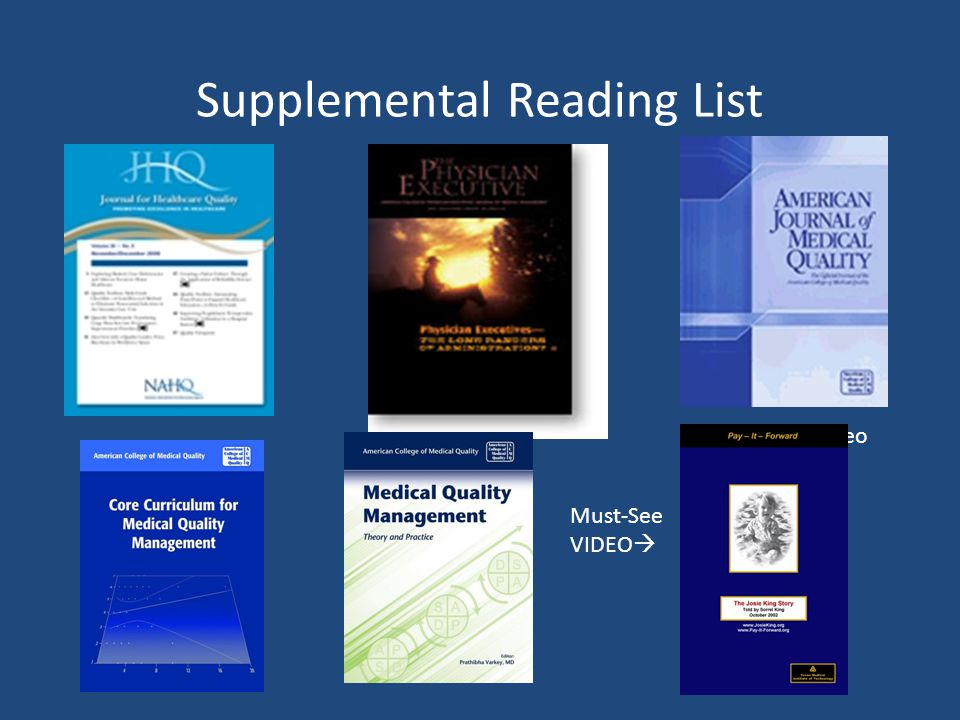 Supplemental Reading List Must-see Video Must-See VIDEO 