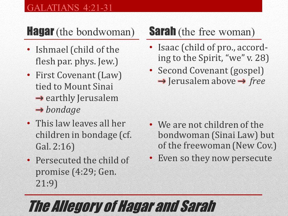The Allegory of Hagar and Sarah Hagar (the bondwoman) Sarah (the free woman) GALATIANS 4:21-31