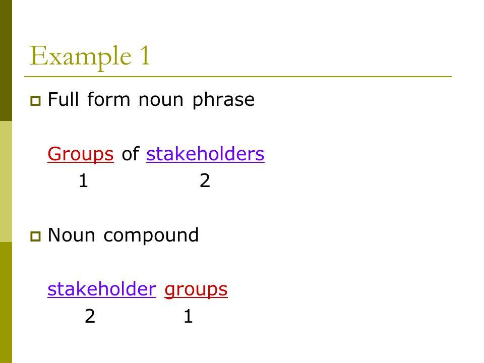 Example 1  Full form noun phrase Groups of stakeholders 1 2  Noun compound stakeholder groups 2 1