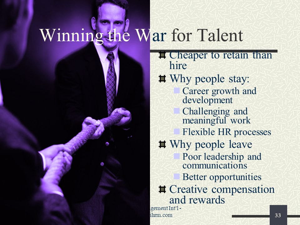 Phenix Management Int l - www.pmihrm.com33 Winning the War for Talent Cheaper to retain than hire Why people stay: Career growth and development Challenging and meaningful work Flexible HR processes Why people leave Poor leadership and communications Better opportunities Creative compensation and rewards
