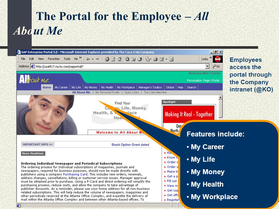 Phenix Management Int l - www.pmihrm.com57 The Portal for the Employee – All About Me Employees access the portal through the Company intranet (@KO) Features include: My Career My Life My Money My Health My Workplace