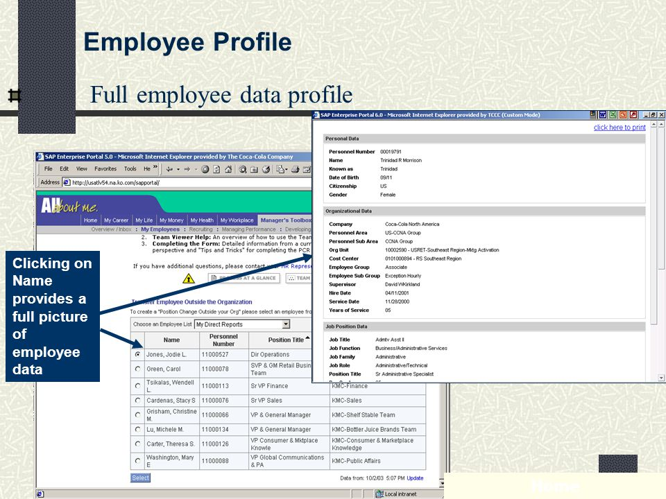 Phenix Management Int l - www.pmihrm.com59 Full employee data profile Clicking on Name provides a full picture of employee data Home Employee Profile