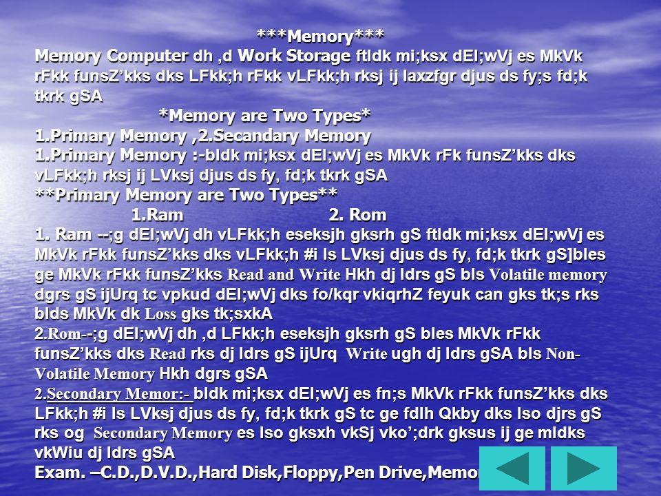 **Language of Computer ** 1.Hight Lavel Language 2.Low Lavel Language 1.Hight Lavel Language:- og Language ftldk mi;ksx cMs cMs izksxzke cukus ds fy, fd;k tkrk gS tks le>us es gkMZ gks High Level Language dgykrh gSA eg.