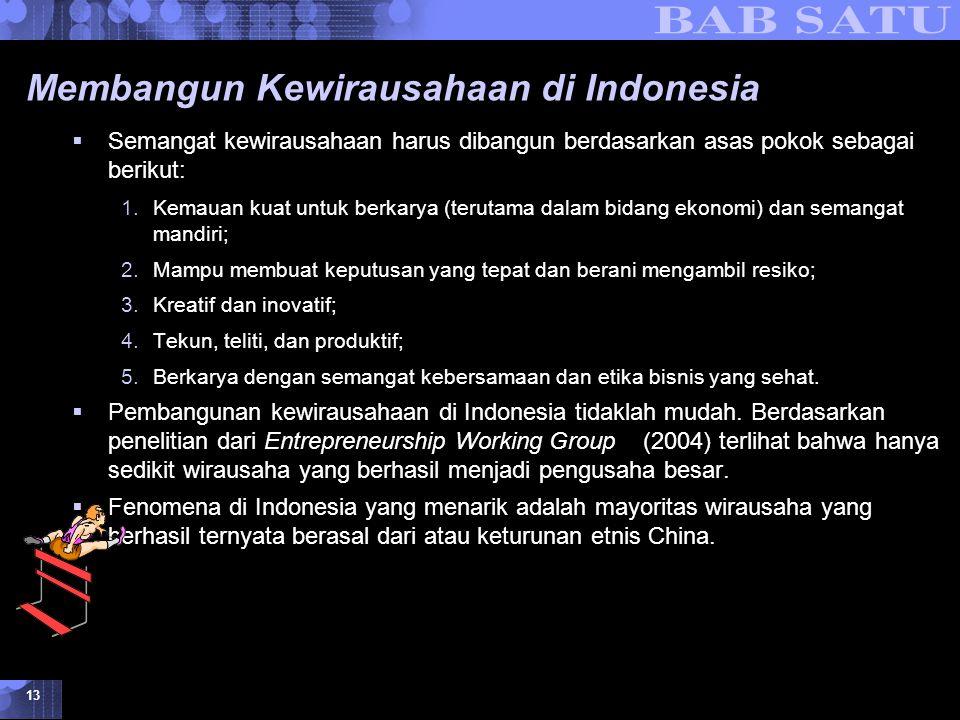 Konsepsi Dasar Kewirausahaan © 2007 UMB 13 Membangun Kewirausahaan di Indonesia  Semangat kewirausahaan harus dibangun berdasarkan asas pokok sebagai