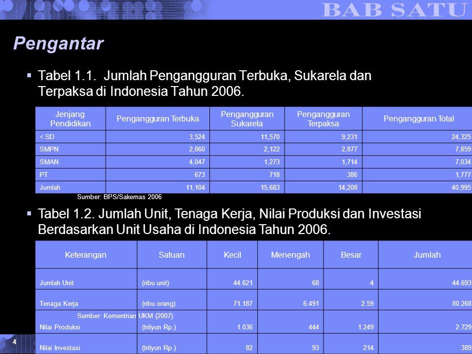 Konsepsi Dasar Kewirausahaan © 2007 UMB 4 Pengantar  Tabel 1.1. Jumlah Pengangguran Terbuka, Sukarela dan Terpaksa di Indonesia Tahun 2006. Jenjang P