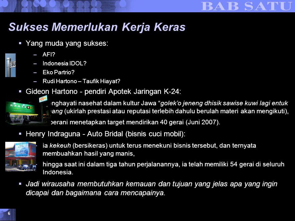 Konsepsi Dasar Kewirausahaan © 2007 UMB 6 Sukses Memerlukan Kerja Keras  Yang muda yang sukses: –AFI? –Indonesia IDOL? –Eko Partrio? –Rudi Hartono –