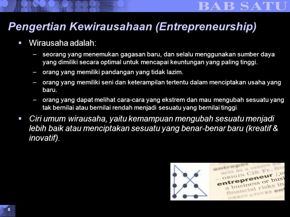 Konsepsi Dasar Kewirausahaan © 2007 UMB 8 Pengertian Kewirausahaan (Entrepreneurship)  Wirausaha adalah: –seorang yang menemukan gagasan baru, dan se