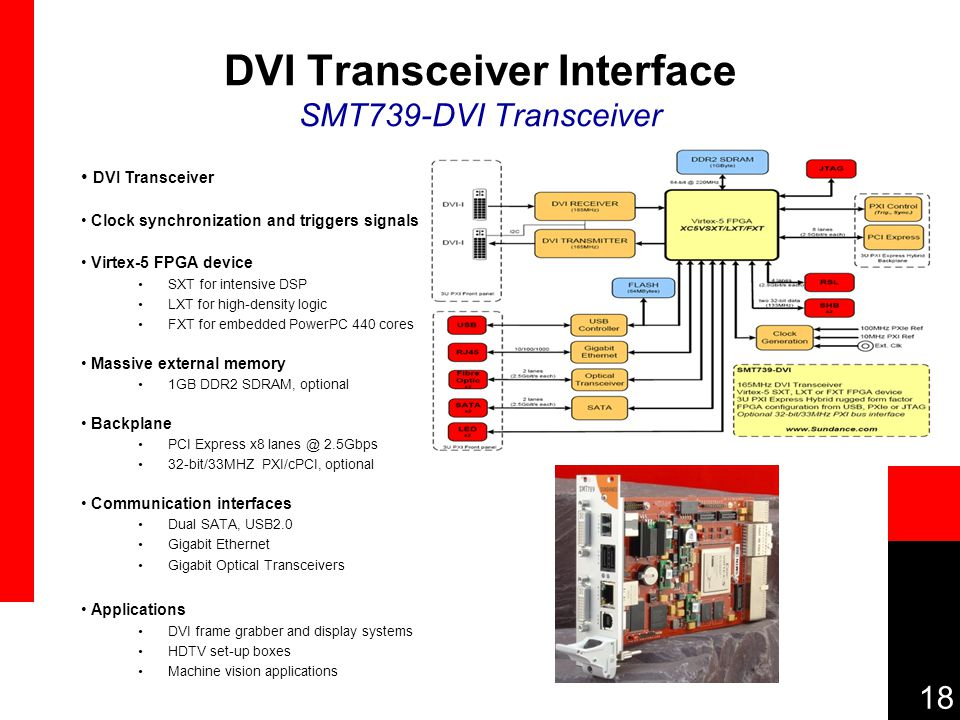 18 DVI Transceiver Interface SMT739-DVI Transceiver DVI Transceiver Clock synchronization and triggers signals Virtex-5 FPGA device SXT for intensive DSP LXT for high-density logic FXT for embedded PowerPC 440 cores Massive external memory 1GB DDR2 SDRAM, optional Backplane PCI Express x8 lanes @ 2.5Gbps 32-bit/33MHZ PXI/cPCI, optional Communication interfaces Dual SATA, USB2.0 Gigabit Ethernet Gigabit Optical Transceivers Applications DVI frame grabber and display systems HDTV set-up boxes Machine vision applications