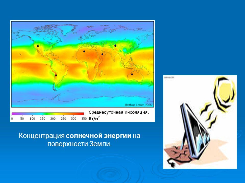 Концентрация солнечной энергии на поверхности Земли.