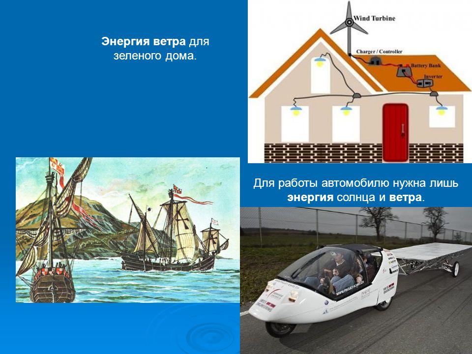 Энергия ветра для зеленого дома. Для работы автомобилю нужна лишь энергия солнца и ветра.
