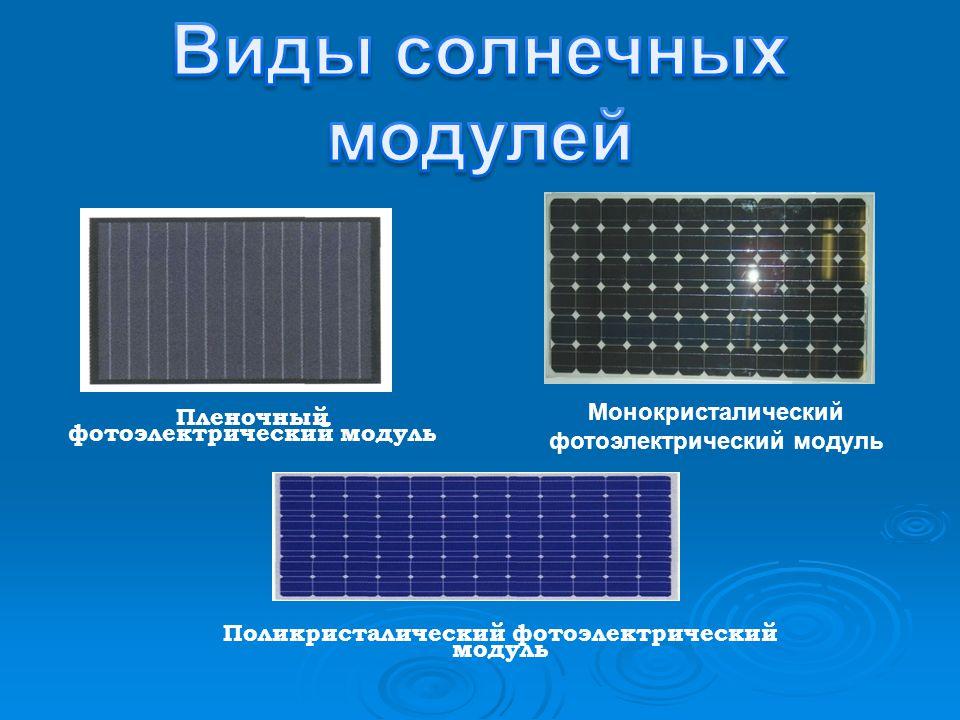 Пленочный фотоэлектрический модуль Поликристалический фотоэлектрический модуль Монокристалический фотоэлектрический модуль