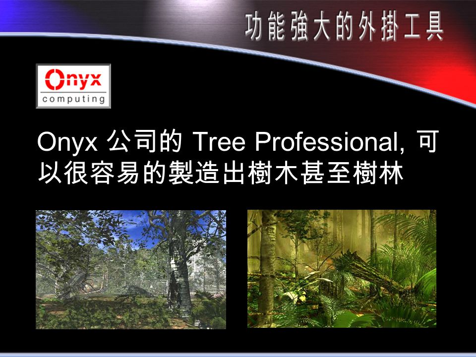 Onyx 公司的 Tree Professional, 可 以很容易的製造出樹木甚至樹林