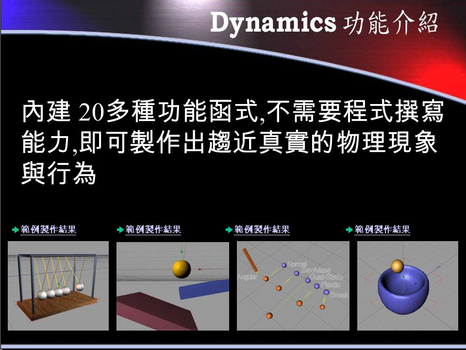 內建 20 多種功能函式, 不需要程式撰寫 能力, 即可製作出趨近真實的物理現象 與行為 範例製作結果