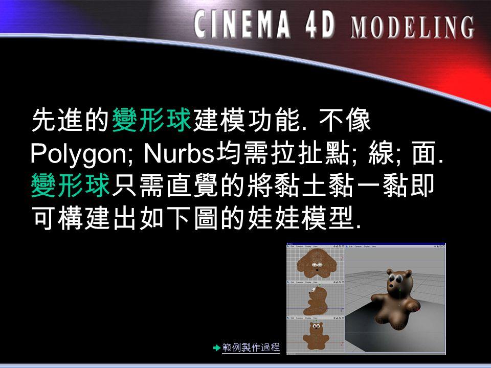 先進的變形球建模功能. 不像 Polygon; Nurbs 均需拉扯點 ; 線 ; 面. 變形球只需直覺的將黏土黏一黏即 可構建出如下圖的娃娃模型. 範例製作過程